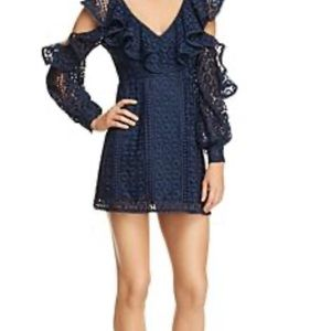 French Connection lace cold shoulder mini dress 0